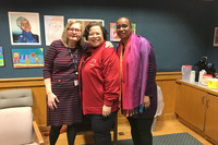 """Left to right are: Professor Donna Mahar, Eva Williams, principal of Van Duyn Elementary School, Syracuse, N.Y., and Professor Patricia Isaac. Mahar and Isaac """"Trauma and Literacy"""" to Van Duyn's teachers, with the goal of improving support for teachers and performance of students."""